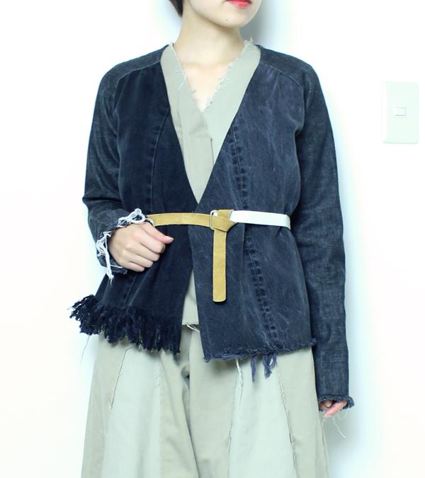 画像1: デニムフリンジジャケット【circa make denim fringe jacket】