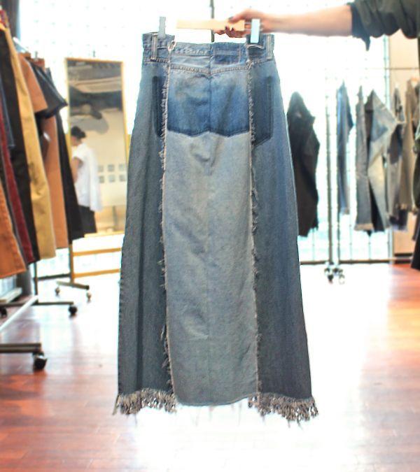 画像2: スイッチングワイドフリンジデニムスカート【circa make switching wide fringe denim skirt】