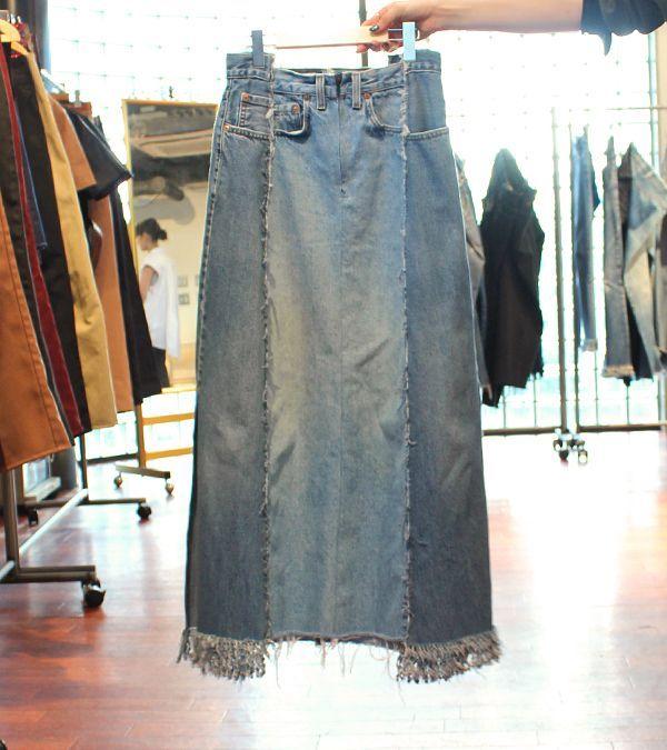 画像1: スイッチングワイドフリンジデニムスカート【circa make switching wide fringe denim skirt】