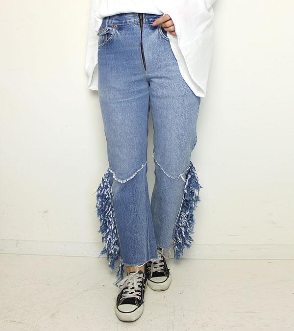画像1: フリンジウエスタンデニムパンツ【circa make fringe western denim pants】