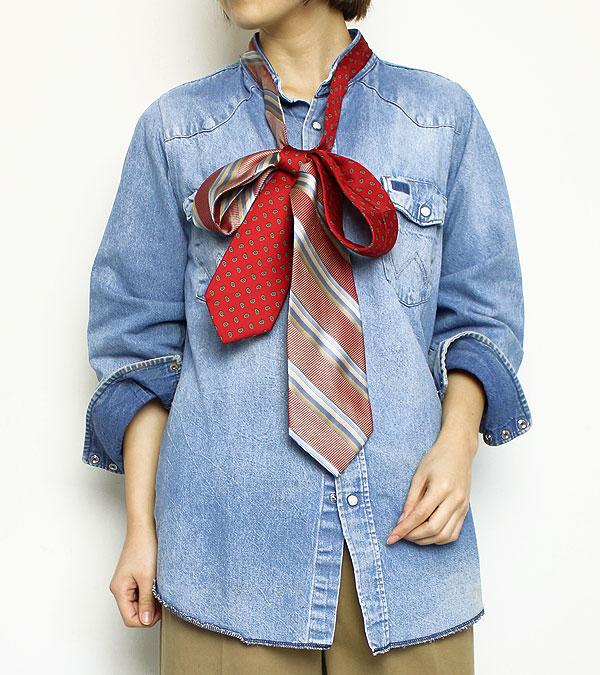 画像1: アンティークタイリボンネックデニムシャツ【circa make antique tie ribon neck denim shirt】