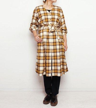 画像1: 20%OFF!レーヨンウールチェックコートドレス【rayon wool check coat dress】《セール商品につき返品不可》