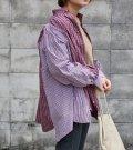 【SEA BERTH別注】ワイドヘムパフスリーブノーカラーチェックシャツ【circa make widehem puff sleeve no collar check shirt】