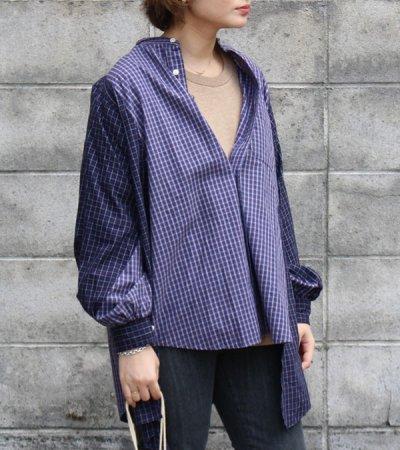 画像1: 【SEA BERTH別注】ワイドヘムパフスリーブノーカラーチェックシャツ【circa make widehem puff sleeve no collar check shirt】