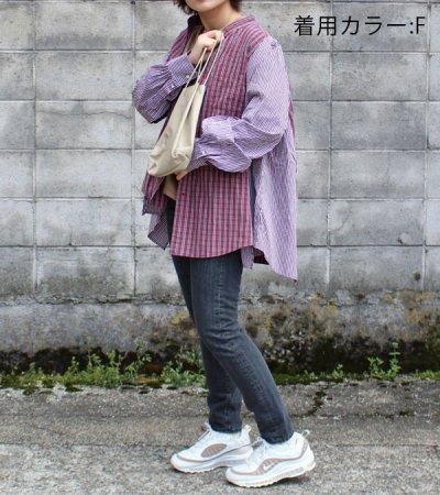 画像2: 【SEA BERTH別注】ワイドヘムパフスリーブノーカラーチェックシャツ【circa make widehem puff sleeve no collar check shirt】