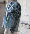 【SEA BERTH別注】ワイドヘムパフスリーブノーカラーチェックシャツ 2【circa make widehem puff sleeve no collar check shirt】