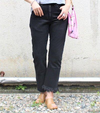 画像1: フリンジスリムデニムパンツ(ブラック)【fringe slim denim pants】