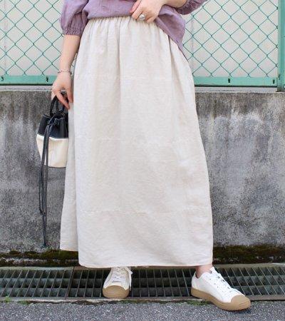 画像1: 40sフレンチリネンキャンバスギャザーコクーンスカート