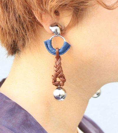画像1: レザーブレイドイヤリング【Leather Braid Earring】
