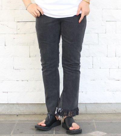 画像1: フリンジフレアデニムパンツ(ブラック)【circa make fringe denim pants】